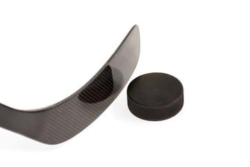 Black hockey stick with washer