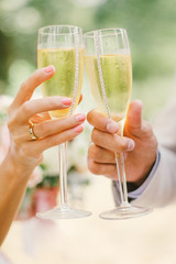 family drinking wedding champagne from high glasses