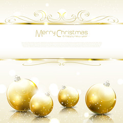 Festive Gold Christmas background with balls