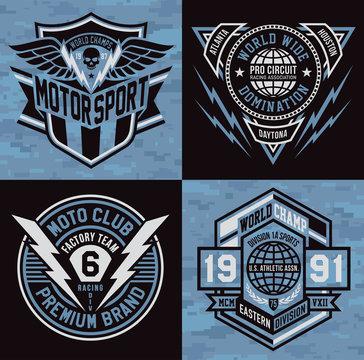 Sports emblem graphic crest set