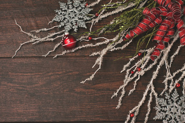 Ribbons and crystal on a rustic wood background