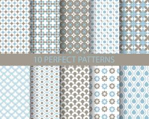 10 cute blue geometric patterns