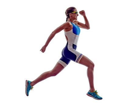 woman triathlon ironman runner running athlete
