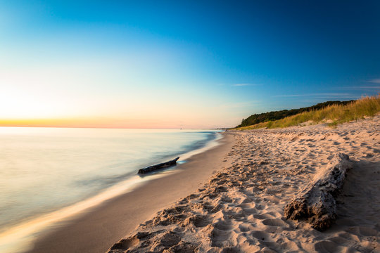 Lake Michigan Pastels. Glowing Beach at Sunset. Natural Beauty Background with Copy Space.