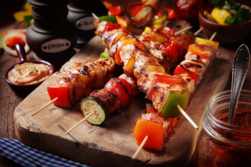 Delicious Gourmet Barbecue on Chopping Board