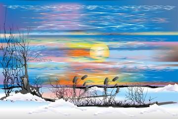 zimowy krajobraz,