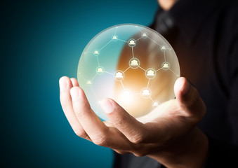 Wall Mural - Business people holding social network in crystal ball