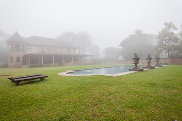 House Mansion Pool Mist  Landscape