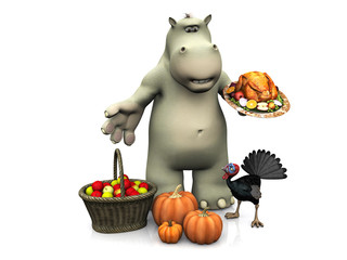 Cartoon hippo celebrating Thanksgiving nr 2.
