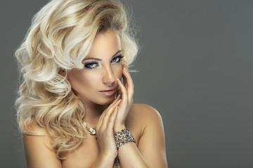 Sensual beautiful blonde woman posing