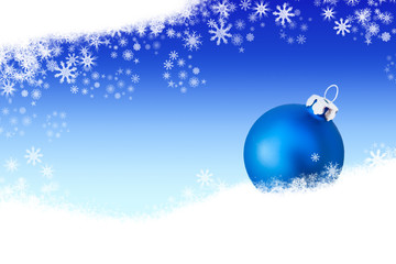 Background with blue christmas ball in the snow