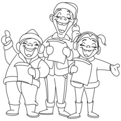 Outlined christmas carolers
