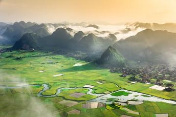 rice field in valley in Bac Son, Vietnam