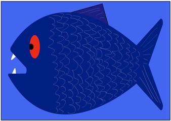 Großer, blauer Fisch mit scharfen Zähnen und roten Augen