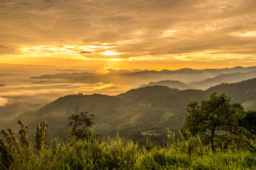 View of the high mountain in Thailand