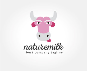 Abstract vector cartoon cow head logo icon concept. Logotype