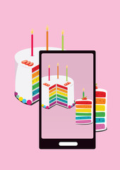 photo of rainbow cake and slice of cake with smartphone