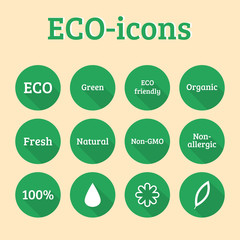 Ecology icon set. Eco, green and organic icons.