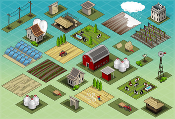 Isometric Farm Set Tiles city map Vector