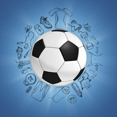 Soccer ball on blue background with sport icons