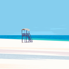 Lifeguard tower on a white sand beach