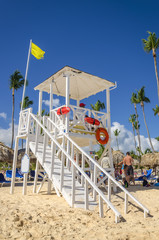 Lifeguard house on a bright sunny summer day, Caribbean Islands