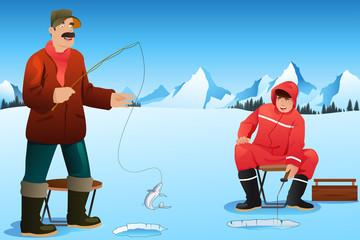 Men ice fishing