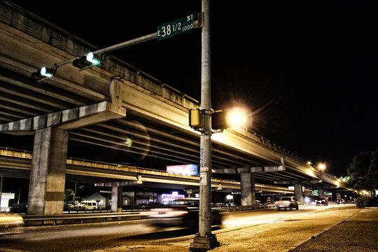Nighttime Scene Highway Overpass in Austin, Texas