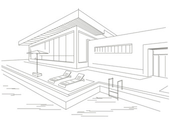 line sketch of vacation home with pool