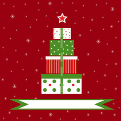 Christmas gifts on red snowy background