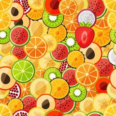 Seamless pattern chopped fruits