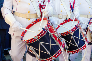 Traditional drummers march in Corfu
