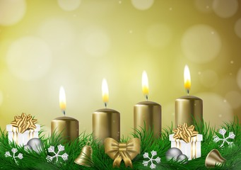 Christmas background with candles vector illustration