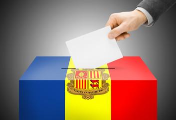 Ballot box painted into national flag colors - Andorra
