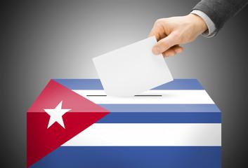 Ballot box painted into national flag colors - Cuba