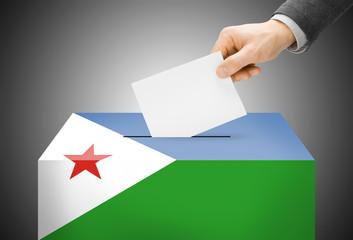 Ballot box painted into national flag colors - Djibouti