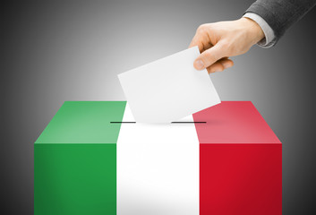 Ballot box painted into national flag colors - Italy