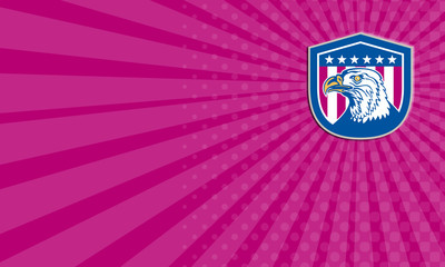 Business card American Bald Eagle Head Side Stars Retro