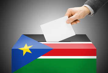 Ballot box painted into national flag colors - South Sudan