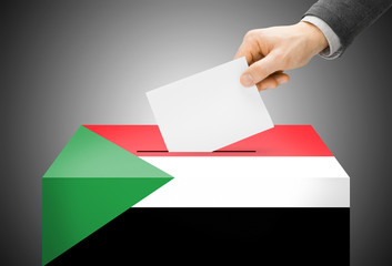 Ballot box painted into national flag colors - Sudan