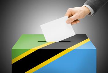 Ballot box painted into national flag colors - Tanzania
