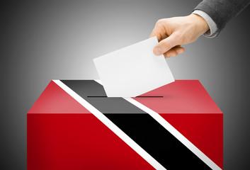 Ballot box painted as national flag - Trinidad and Tobago