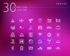Travel outline icons set