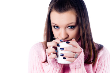 Young attractive woman with cup