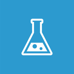 laboratory icon, white on the blue background .
