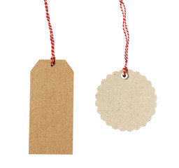 Blank hanging gift tags on white background