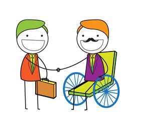handshake man wheelchair