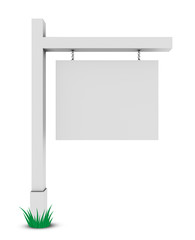 Blank banner on white background