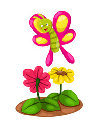cute cartoon butterfly with flowers