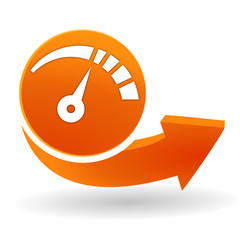Fototapete - jauge sur bouton web orange